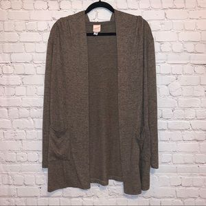 Freeloader Brown Open Front Hooded Cardigan